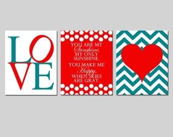 Baby Girl Nursery Art Trio - You Are My Sunshine, Love, Chevron Heart - Set of Three 8x10 Prints - CHOOSE YOUR COLORS