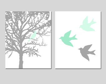 Mint Green Grey Gray Nursery Decor Nursery Art - Bird in a Tree, Three Little Birds - Set of Two 11x14 Prints - CHOOSE YOUR COLORS