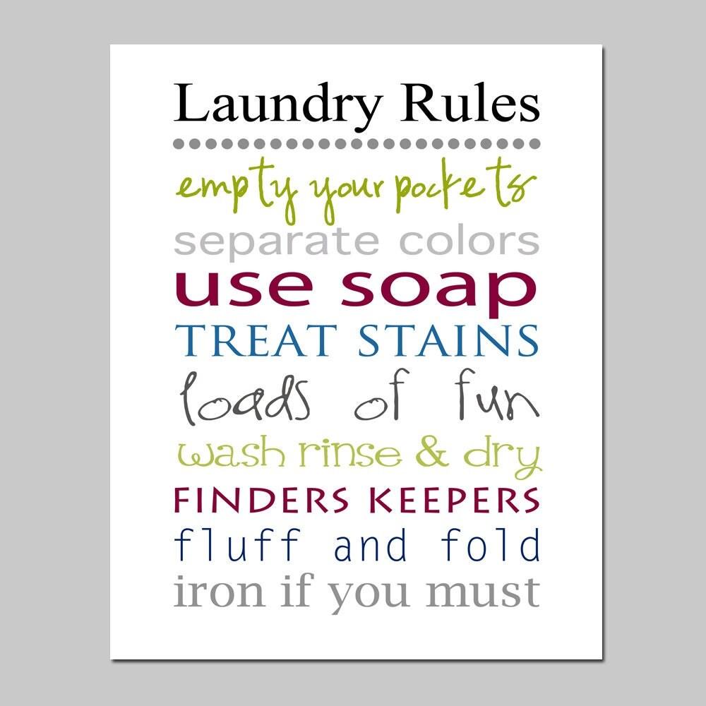 Laundry Rules 11x14 Print Laundry Room Decor Wall Art