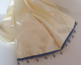 Ivory Satin Bridal Wrap with Blue Beaded Trim half price clearance