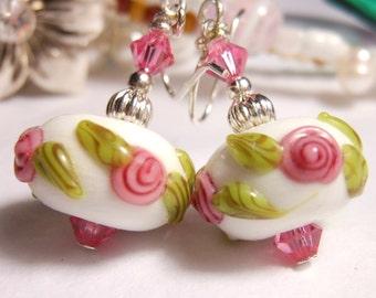 Pink Rose Earrings, Pink White Floral Lampwork Earrings, Beadwork Earrings, Flower Glass Bead Earrings, - Rose