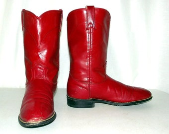 Womens Red Cowboy Boots - Roper style -Acme Brand -  size 7 M