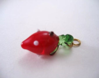 Vintage Strawberry Glass Pendant Charm without chain