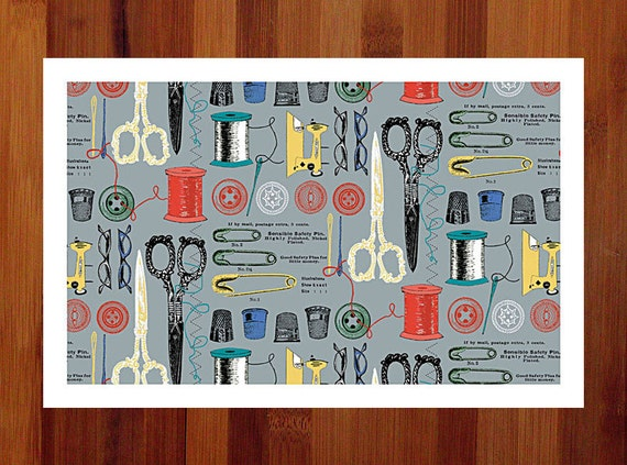 Charming Necessities, Prints Illustrations, Whimsical Art, Wall Art, Poster Prints, Living Room Decor, Craft Room Decor, Grey Art, 11x17