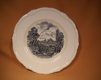 GRINDLEY PLATE made in  ENGLAND, scenes after Constable, A lock on the Stour after constable,Collectible Grindley Scene Plate,Grindley Plate