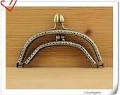 Double Purse frame  14cm x 6cm (5 1/2  inch x 2 3/8 inch )  polish anti brass color D38