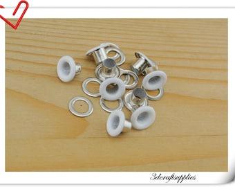 4mm  white Eyelet  grommet  Grommets eyelets 100 sets AC72G