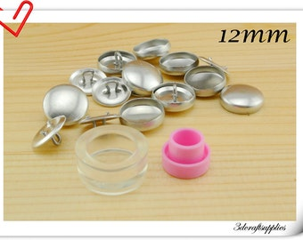 15 sets of 12mm ( 1/2 inch )  Size 20  Self cover button with Assembly  tool  Easy button making
