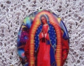 Beautiful, Our Lady of Guadalupe Religious Cabochon Fine Porcelain Cameo 30x40mm Make a Cherished Jewelry Heirloom....