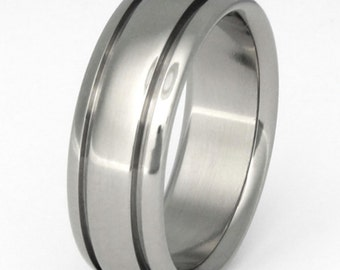 Titanium Wedding Band - Domed Ring with Two Grooves - n10