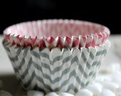 25 Light Gray and White Chevron Striped Light Pink and White Chevron Striped Charming Cupcake Muffin Baking Cups, Cupcake  Liners