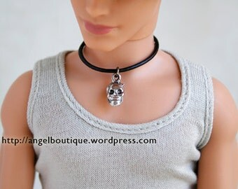 Mini Silver Skull Pendent Collar necklace for Male Doll