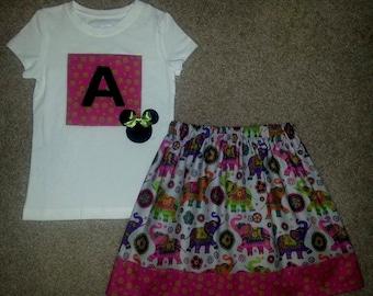 Disney Animal Kingdom Mickey Minnie Mouse Elephants Skirt Outfit Size 12M 18m 24m 2 3 4 5 6 7 8 9 10