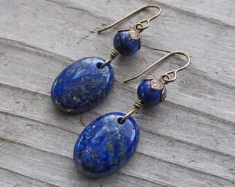 Indigo Blue Lapis Lazuli Brass Flowers Natural Healing Spiritual Gemstone Earrings