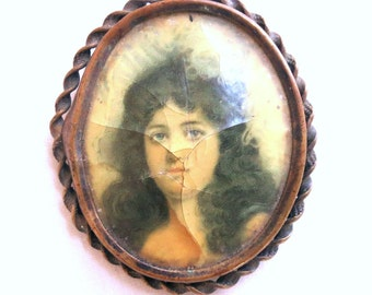 Vintage Picture Cameo Brooch Antique Gothic Victorian Lady Copper