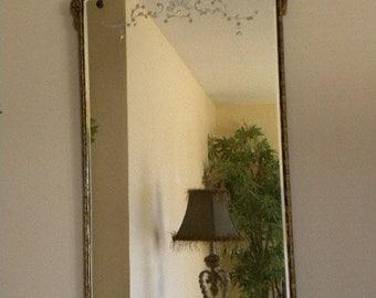 Antique Hollywood Regency Large Gilt Mirror