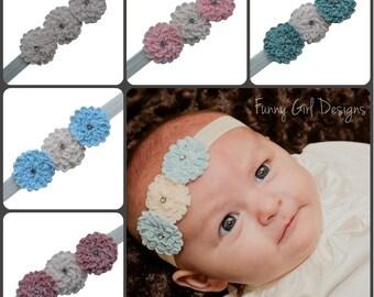 Vintage Flower Julia Chiffon Elastic Baby Headband