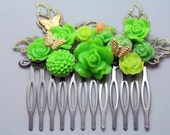 Absinthe Green Summer Bright Wedding Flower Hair Comb Roses Butterflies Cottage
