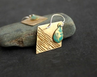 Mustard Turquoise Diamond Dangle Drop Earrings Yellow Textured Gold Brass Verdigris Hammered Teardrop Patina Boho Jewellery