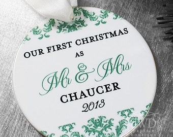 Our First Christmas as Mr and Mrs Ornament First Christmas Together Personalized Porcelain Ornament - Dainty Damask Pattern - Item# DAI-MM-O