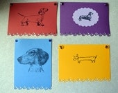 Dachshund DOXIE hand designed flat panel note card 8 pack rescue