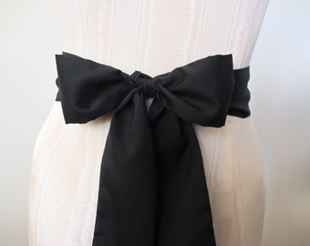 Black Sash, Black Bow Belt, Wrap Belt, short sash