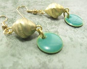 Teal and Gold Drop Earrings