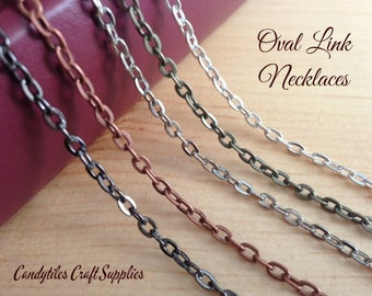 20pk Oval Link Chain Necklaces....Mix and Match...Gun Metal..Antique Brass..Copper..Silver..OLC24