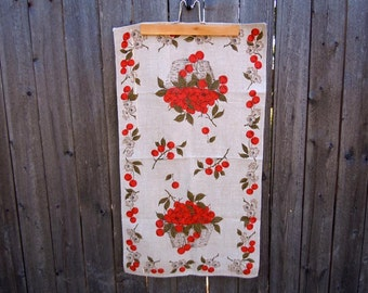 Vintage 1970s Linen Tea Towel Cherries and Cherry Blossoms