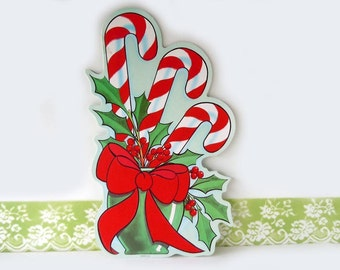 Vintage 1980 Flocked Christmas Holiday Decorations Candy Canes