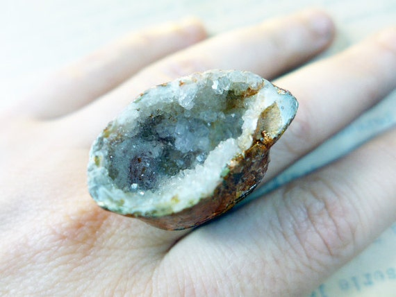 Druzy geode on chunky oxidized ring with coppery gold leaf. Look Closer.