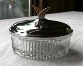 Crystal Mid Century Candy Dish with Chrome Lid