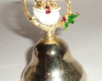Vintage Santa Bell - Gold Tone Bell - Christmas Decor - Enamel Santa - Santa Bell Ornament - Christmas Bell - Holiday Decor