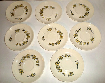 Vintage Stetson Saucers - Dogwood Flowers Saucers - Hand Decorated Saucers - Yellow Flowers - Set of 8 Saucers - Small Saucers