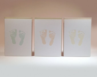 Baby Footprint Letterpress Card Single- available in three color options