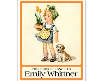 Little Girl with Tulips & Puppy Personalized Bookplates - CHILDREN'S BOOKS