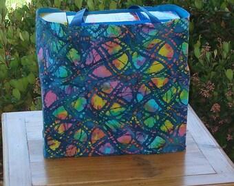 Teal Batik Multicolored Dream Catcher Design Reusable Shopping Tote Bag