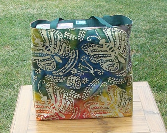 Butterfly Print on a Multicolored Batik Reusable Shopping Tote Bag