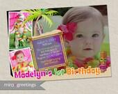 Luau Birthday Party or Shower Invitation - Pool Party Invite Photo Beach Surf Tiki (Printable Digital File)