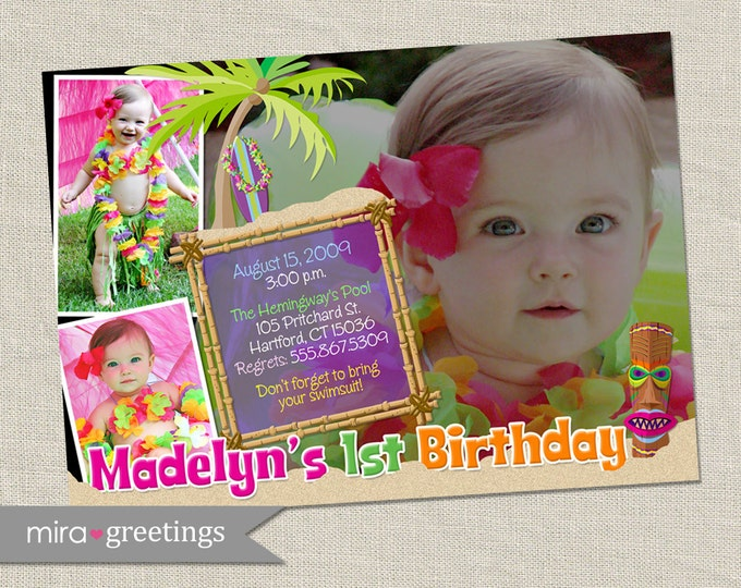 Luau Birthday Party Invitation - Printable Digital File