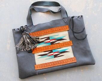 Southwestern Chimayo Patchwork Leather Tote - Gray Boho Large Shoulder Bag