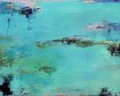 SPRING SALE Contemporary Abstract Landscape Painting- 24hx36w,  West Elm artist - blue, aqua, water, lily pads, Wall Hanging
