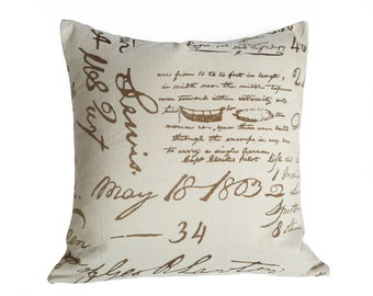 Cream Gold Script Pillows, Handwriting Pillow Cover, French Country Cottage Cushion, Antique Style, Gold Writing, 20x20, 50x50 cm