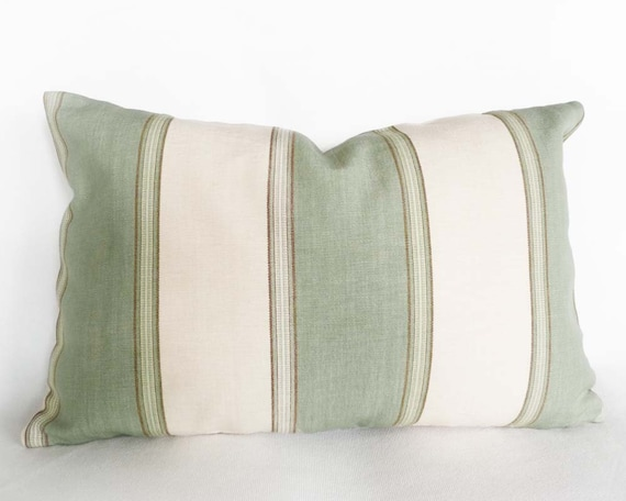 Sea Foam Green And Cream Striped Pillow By Pillowthrowdecor