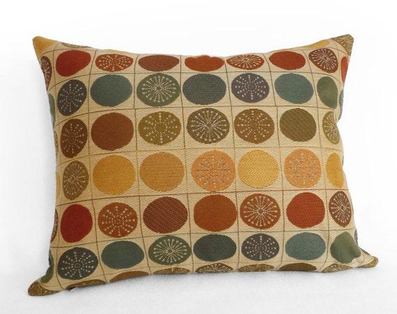 Multicolor Autumn Pillows, Medallions Pillow Cover, Mens Accent Pillow, Slate Blue, Sage Green, Rust Orange, Cirlces, Lumbar 12x18, SALE