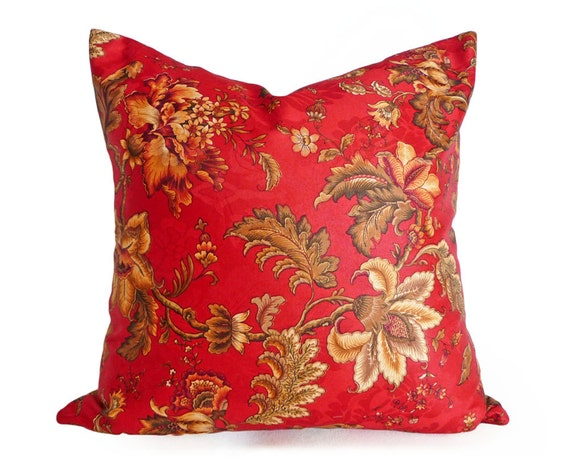 Red Floral Pillow, Jacobean Pillow Covers, Red Orange Gold Pillows, Country Chic Home Decor, 12x18, 16x16, 18x18