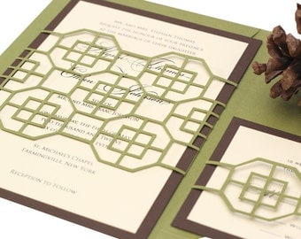 Modern Geometric Wedding Invitations Glacier Fret  - moss green, chocolate brown, wedding invites, cutout, trellis wrap