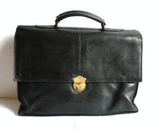 GERARD French VIntage Black Leaher Briefcase
