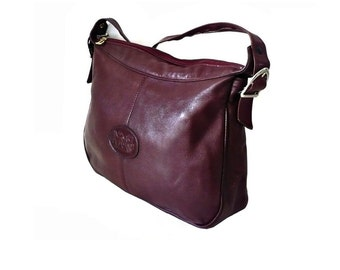 CALECHE FRench Vintage Burgundy Leather Shoulder Bag