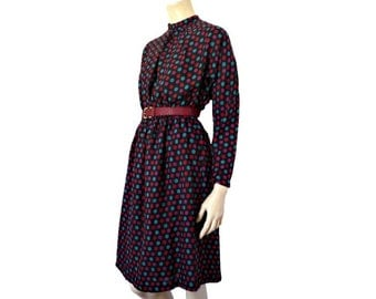 French Vintage 70s Colors Polkadots Dress